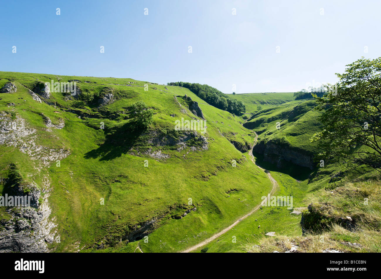 View from the rear salls of Peveril Castle, Castleton, Peak District, Derbyshire, England, United Kingdom - Stock Image