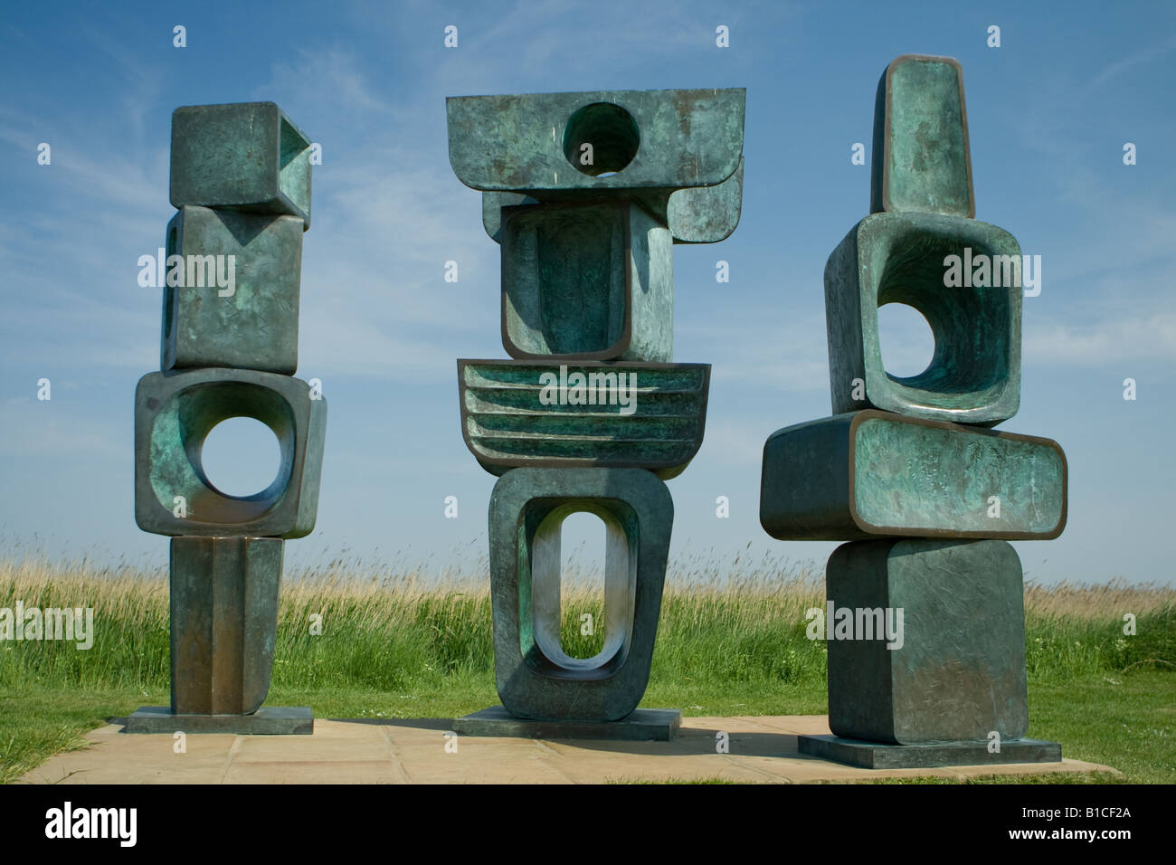 Sculptures by Barbara Hepworth at Snape Maltings near Aldeburgh Suffolk - Stock Image