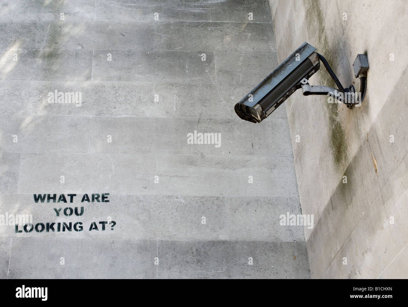 Composite Image Of Stencil Graffiti >> Cctv Camera And What Are You Looking At Stencil Graffiti By Banksy