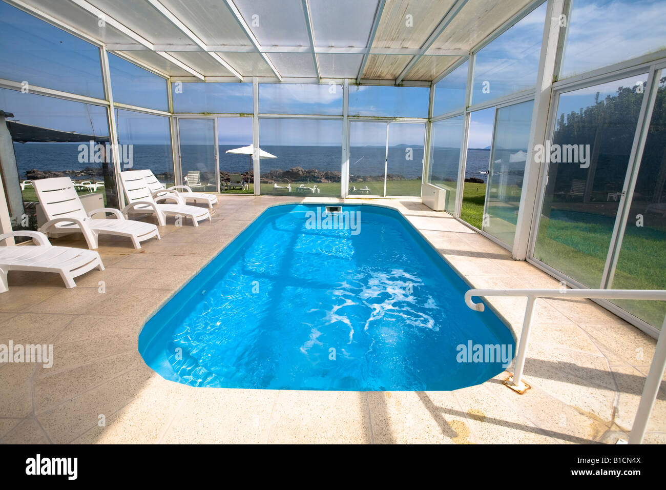 Covered swimming pool and jacuzzi in Casapueblo Punta del ...