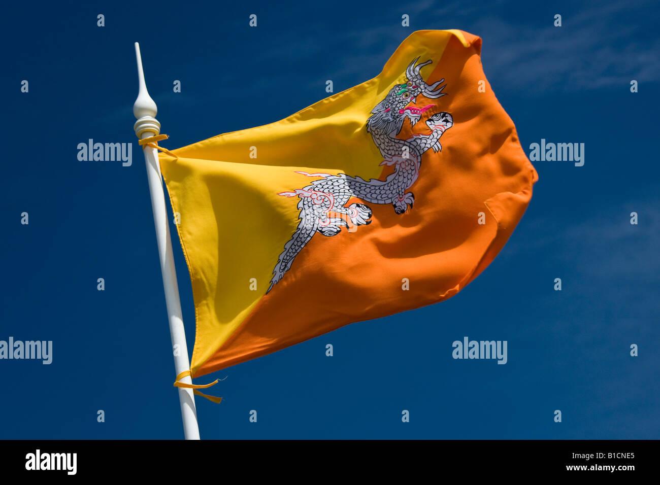 Flag of the Kingdom of Bhutan - Stock Image