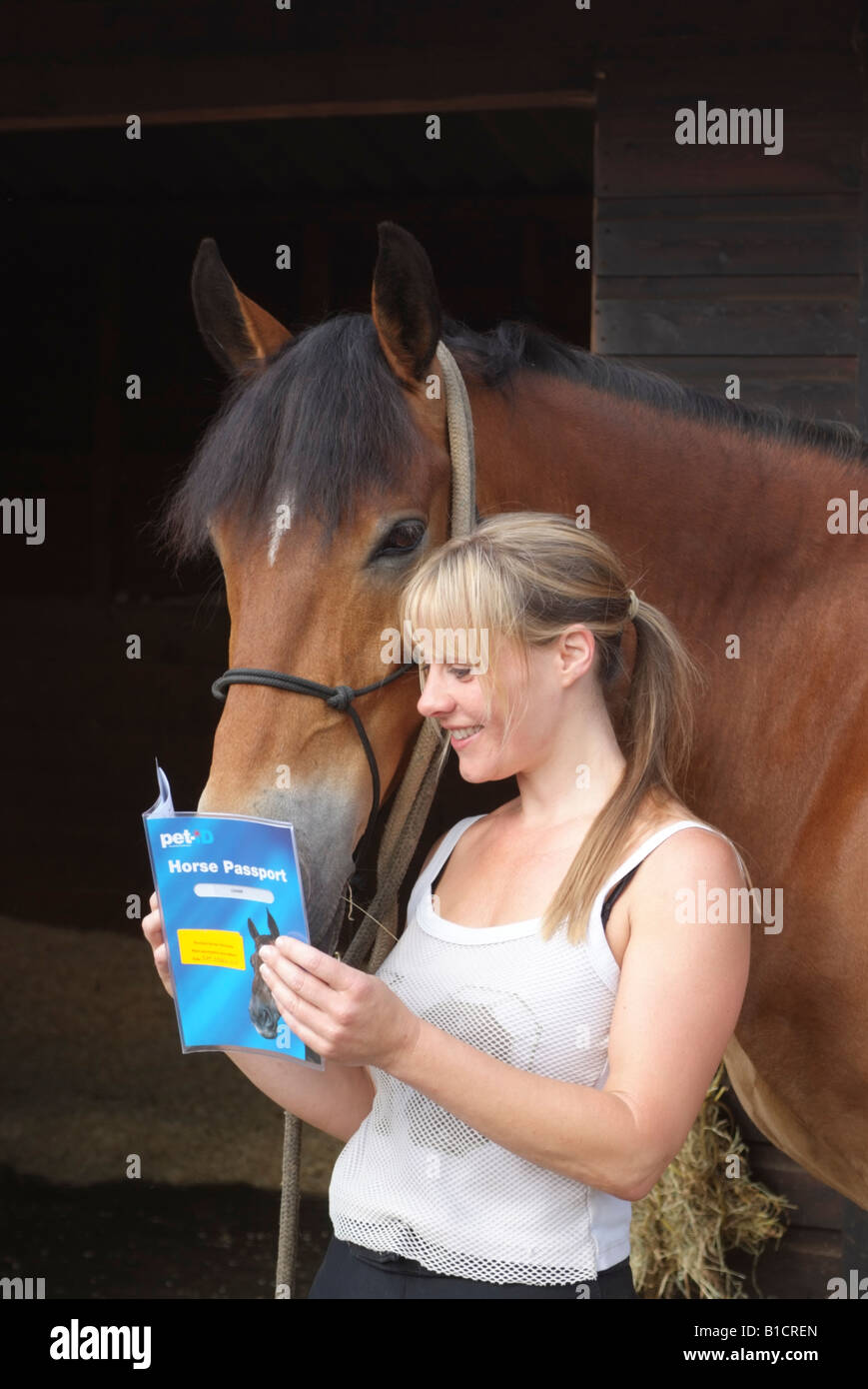 Reading Pet ID Horse Passport with owner - Stock Image