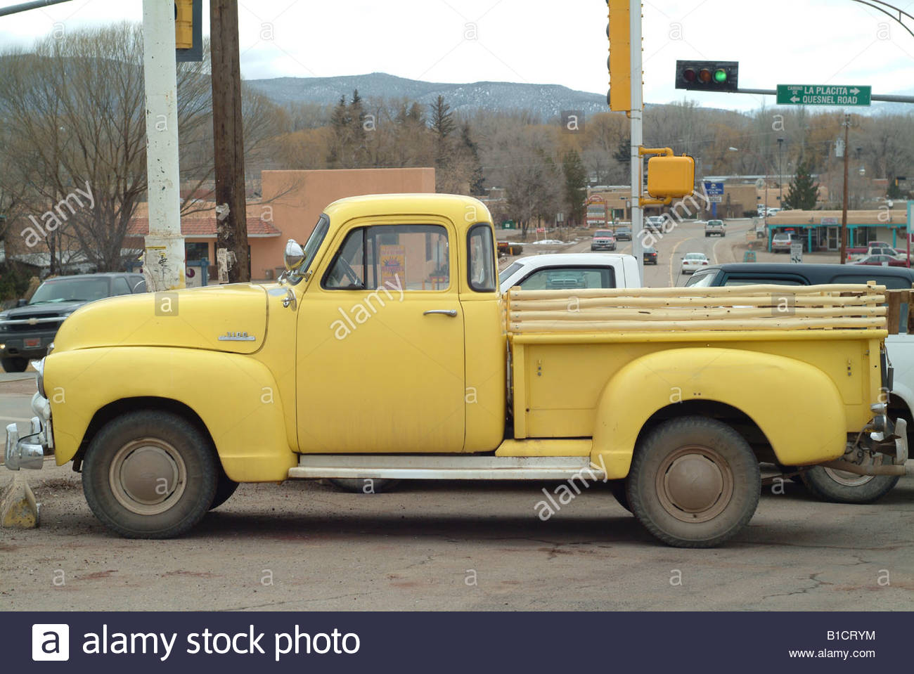 Yellow pickup truck New Mexico USA NM old American car vehicle auto ...