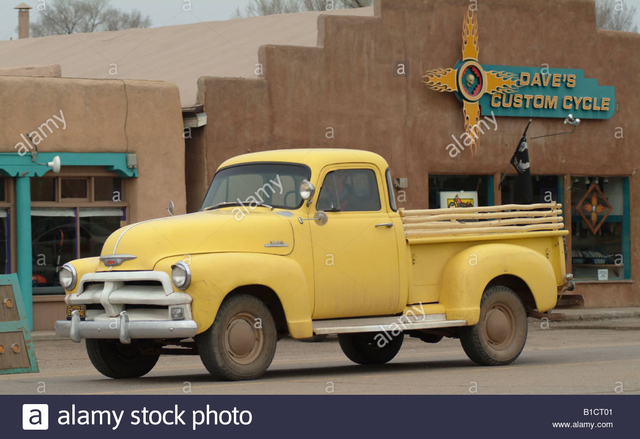 Yellow pickup truck New Mexico USA NM old American car vehicle ...