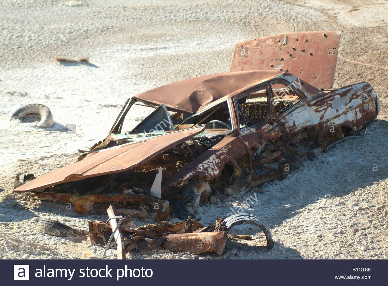 Old junk cars in the California desert USA rusting rusty scrap metal ...