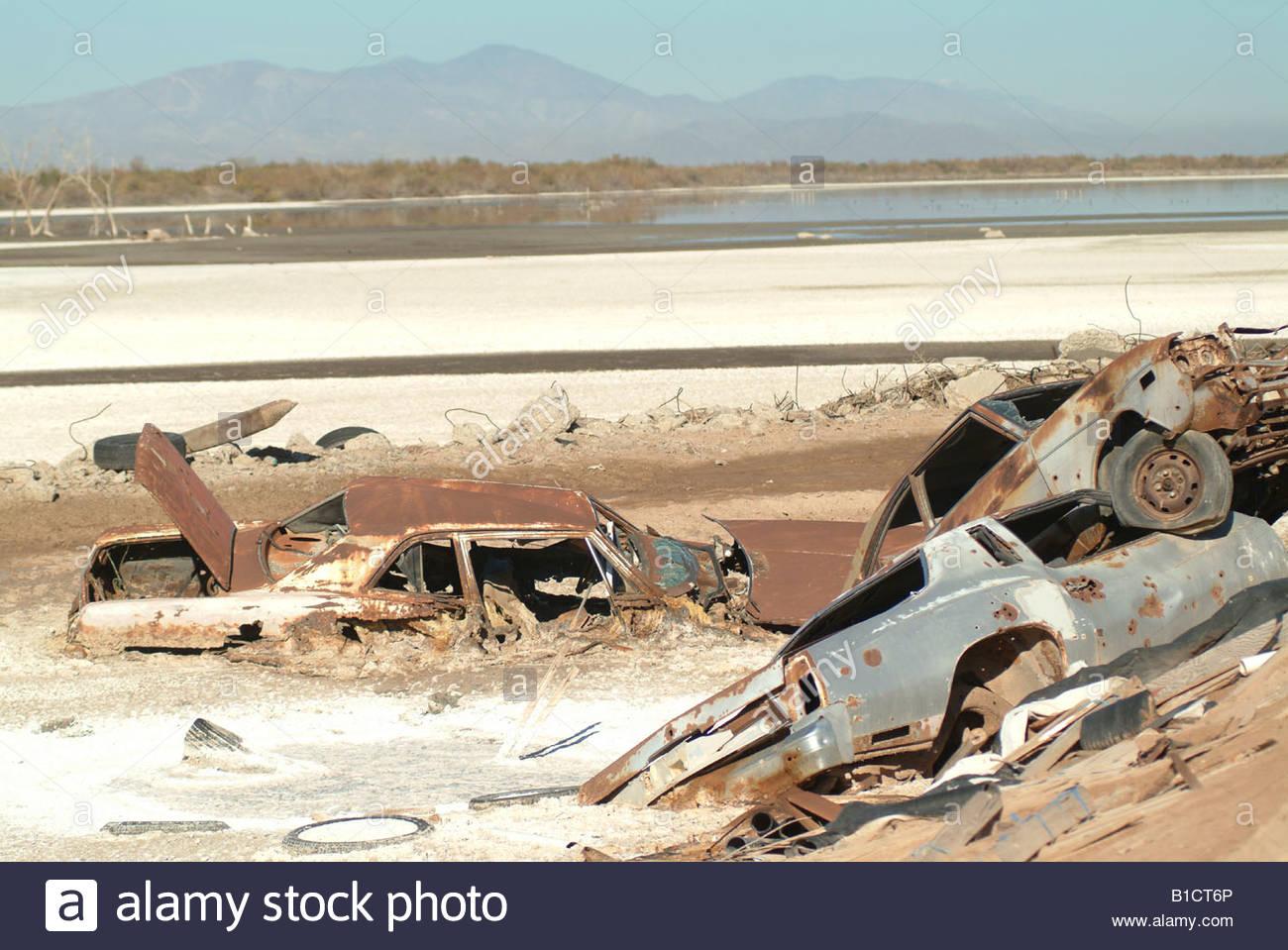 Old junk cars in the California desert USA rusting rusty scrap metal ...