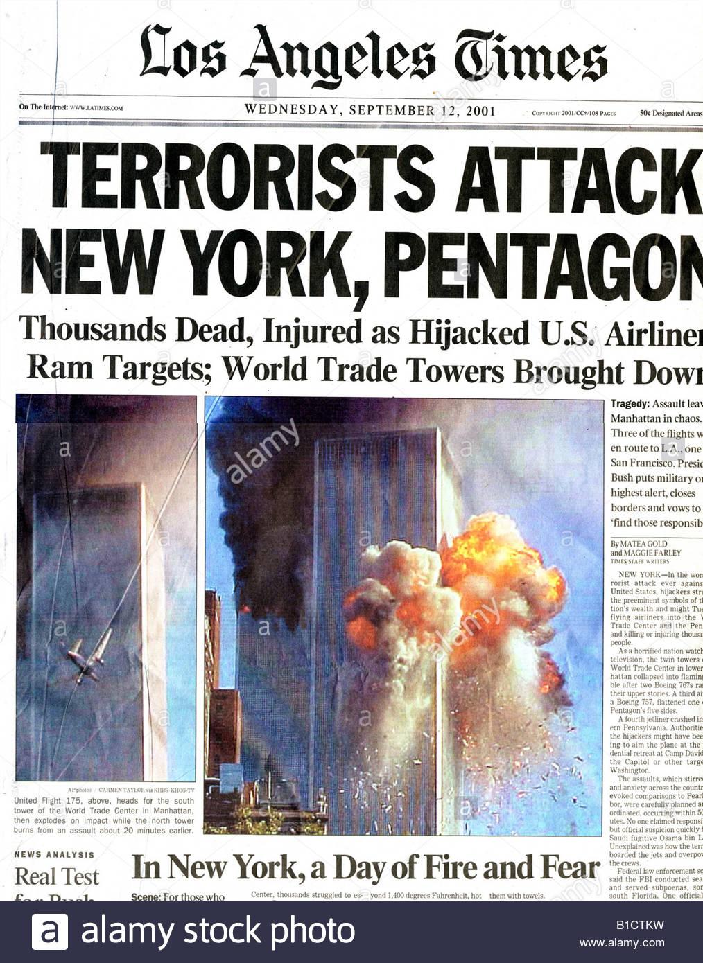 911 News newspaper 911 front page headline terrorists attack world trade center centre New York NY USA Osama bin - Stock Image
