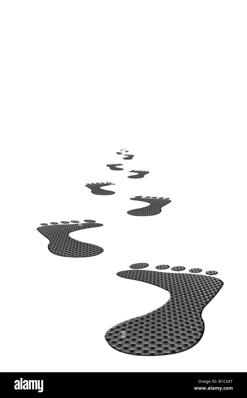 Carbon footprints heading into the distance on a white background - Stock Image