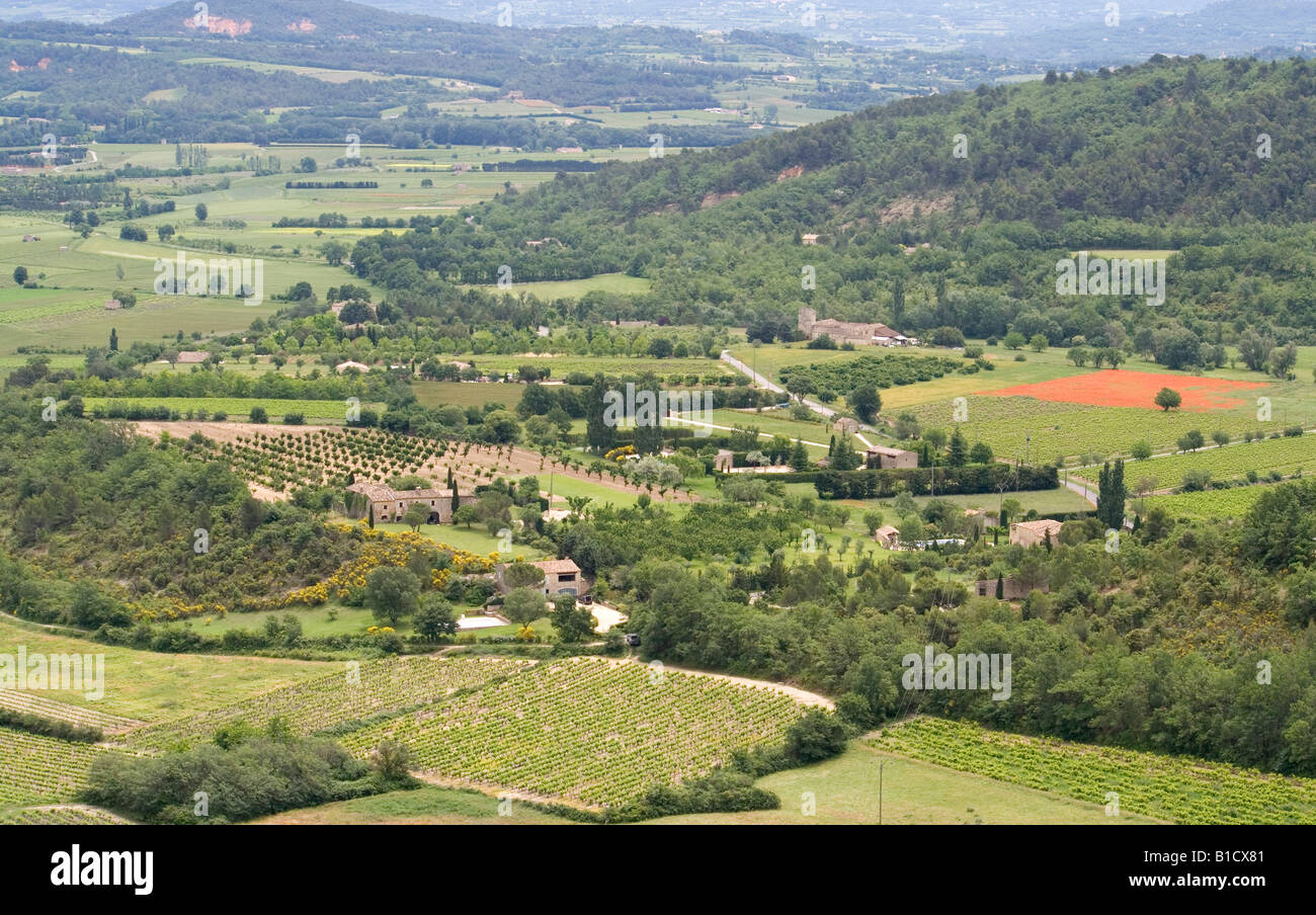 View From Gordes, A Hilltop Village 21 Km From Apt, In The Vaucluse Area,  Looking Down Onto The Coulon Valley, South Of France