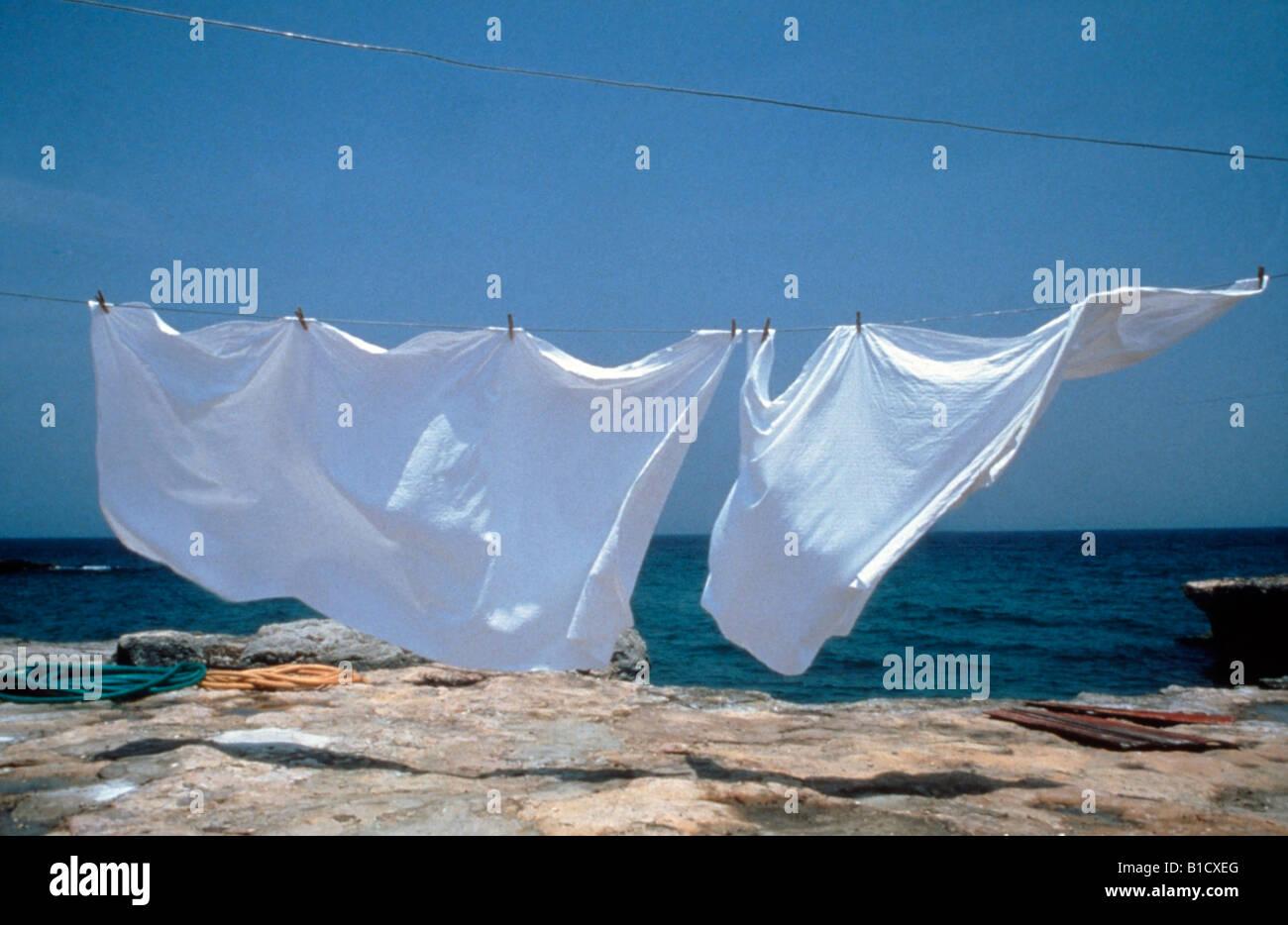 white sheet on line floating stock photo 18109240 alamy