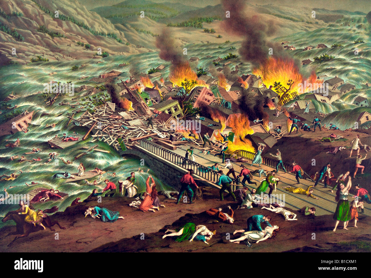 Johnstown Flood - Great Conemaugh-Valley disaster - Stock Image