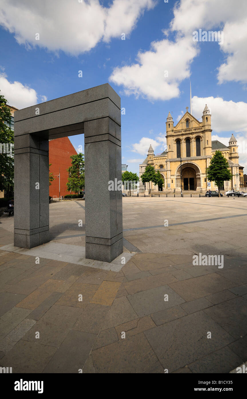 St Annes Cathedral Belfast from writers square Stock Photo