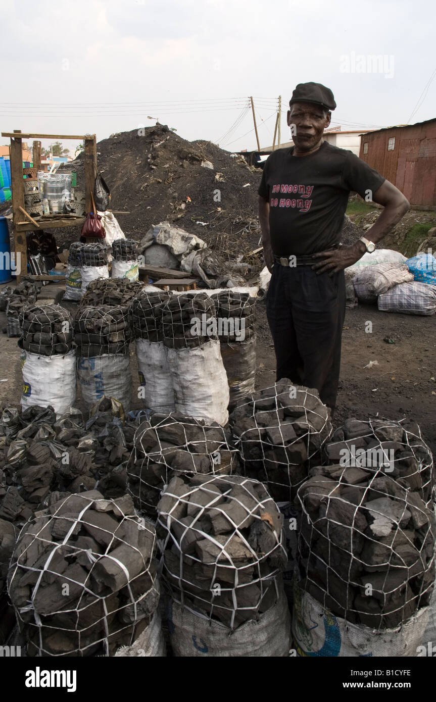 Charcoal packed into bags sold at Kamwala Market in Lusaka, Zambia - Stock Image