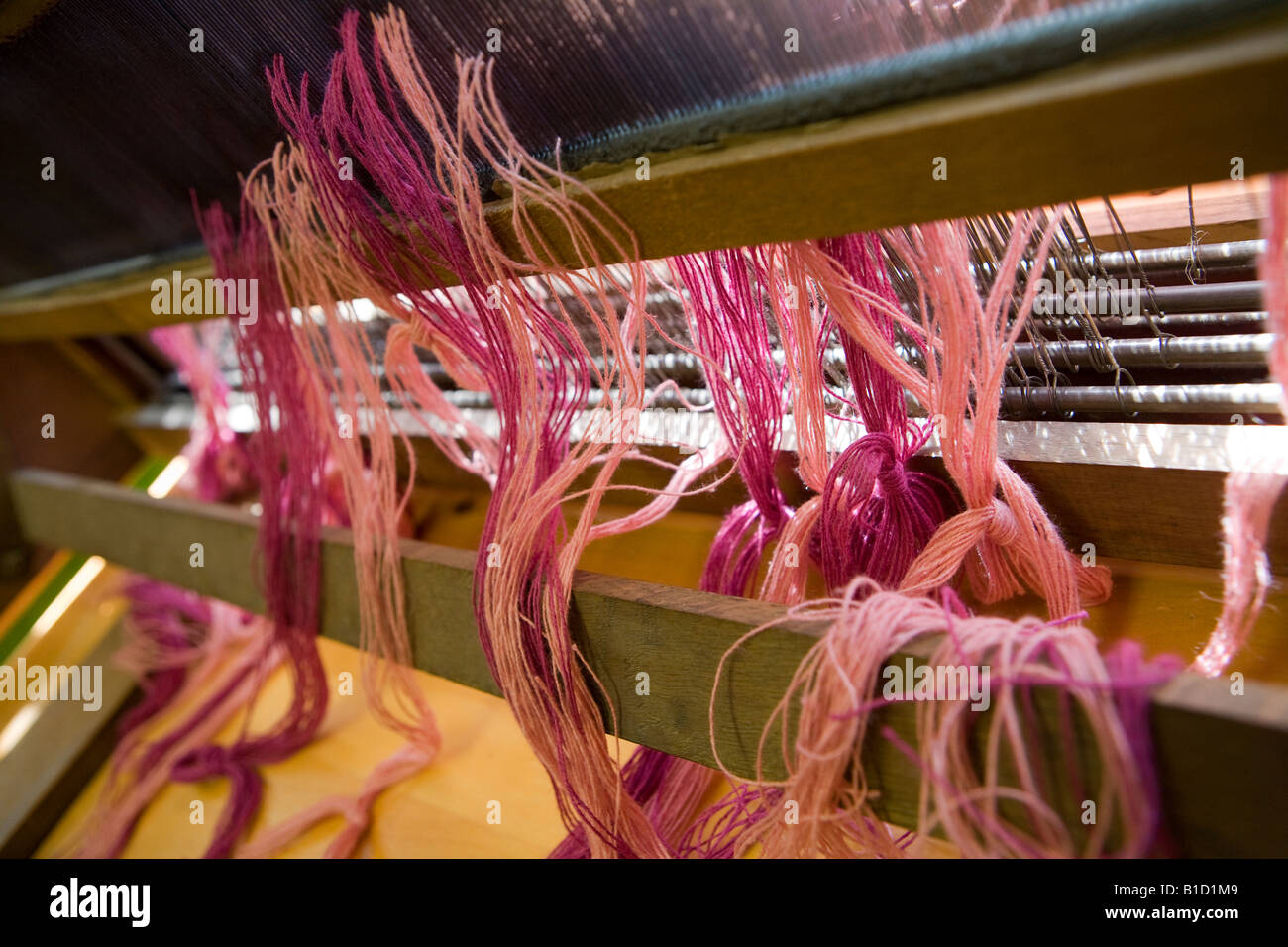 Wool on a loom - Stock Image