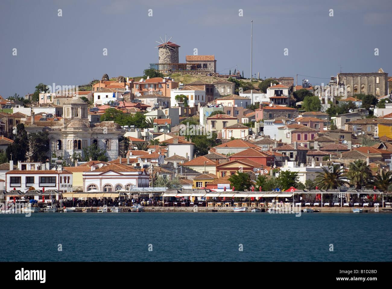 Scenic view of Cunda Alibey Island and waterfront restaurants Ayvalik Turkey - Stock Image