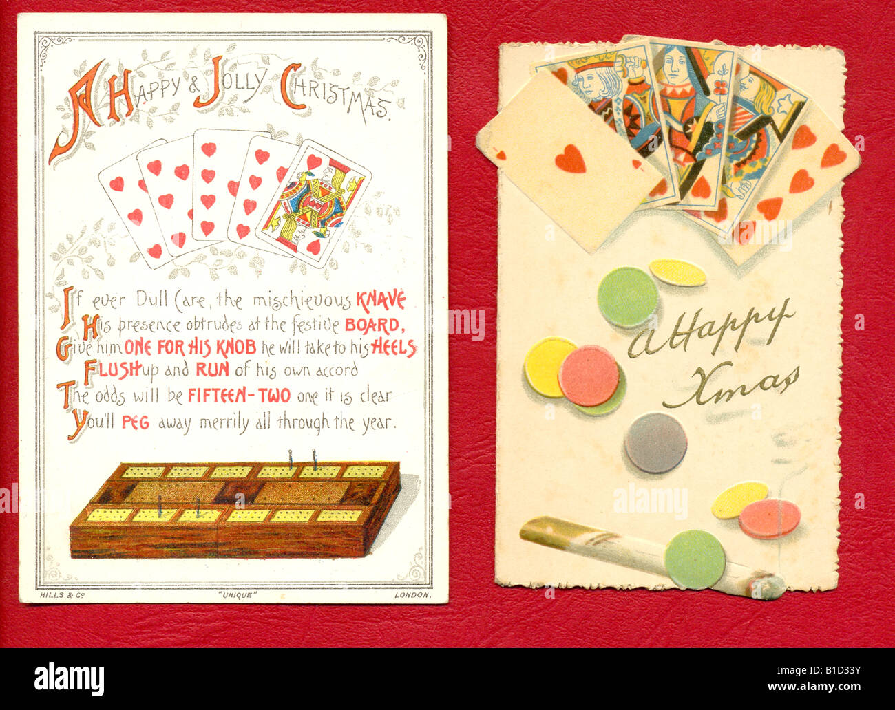 Two Victorian greetings cards featuring playing cards and games circa 1890 - Stock Image