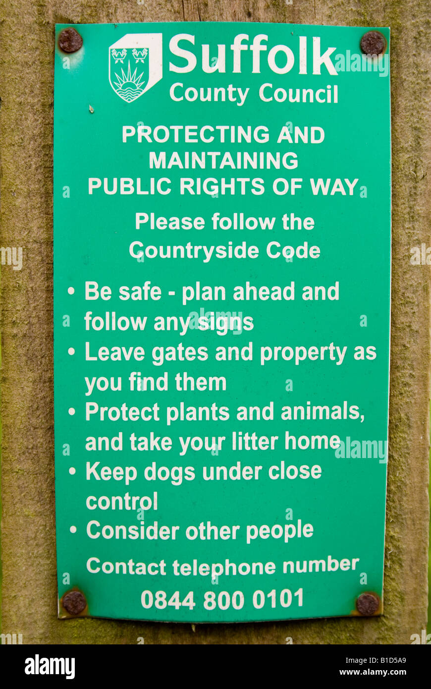 Public Rights Of Way Sign In Suffolk - Stock Image