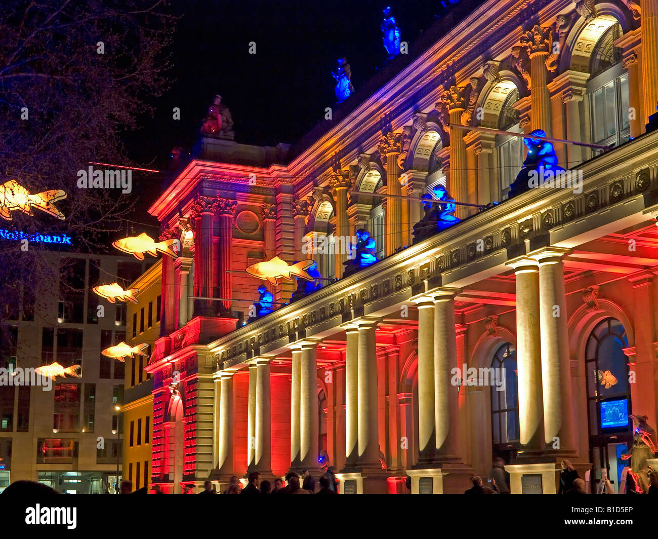 colourful lightened building in the event Luminale 2008 Frankfurt Stock Exchange Hesse Germany Stock Photo