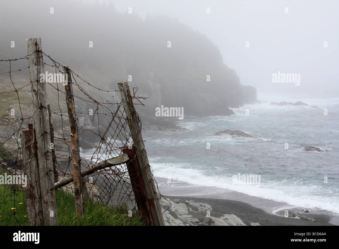 Heavy fog and ragging waves upon rugged shoreline at Logy Bay Middle Cove Outer Cove in Newfoundland - Stock Image