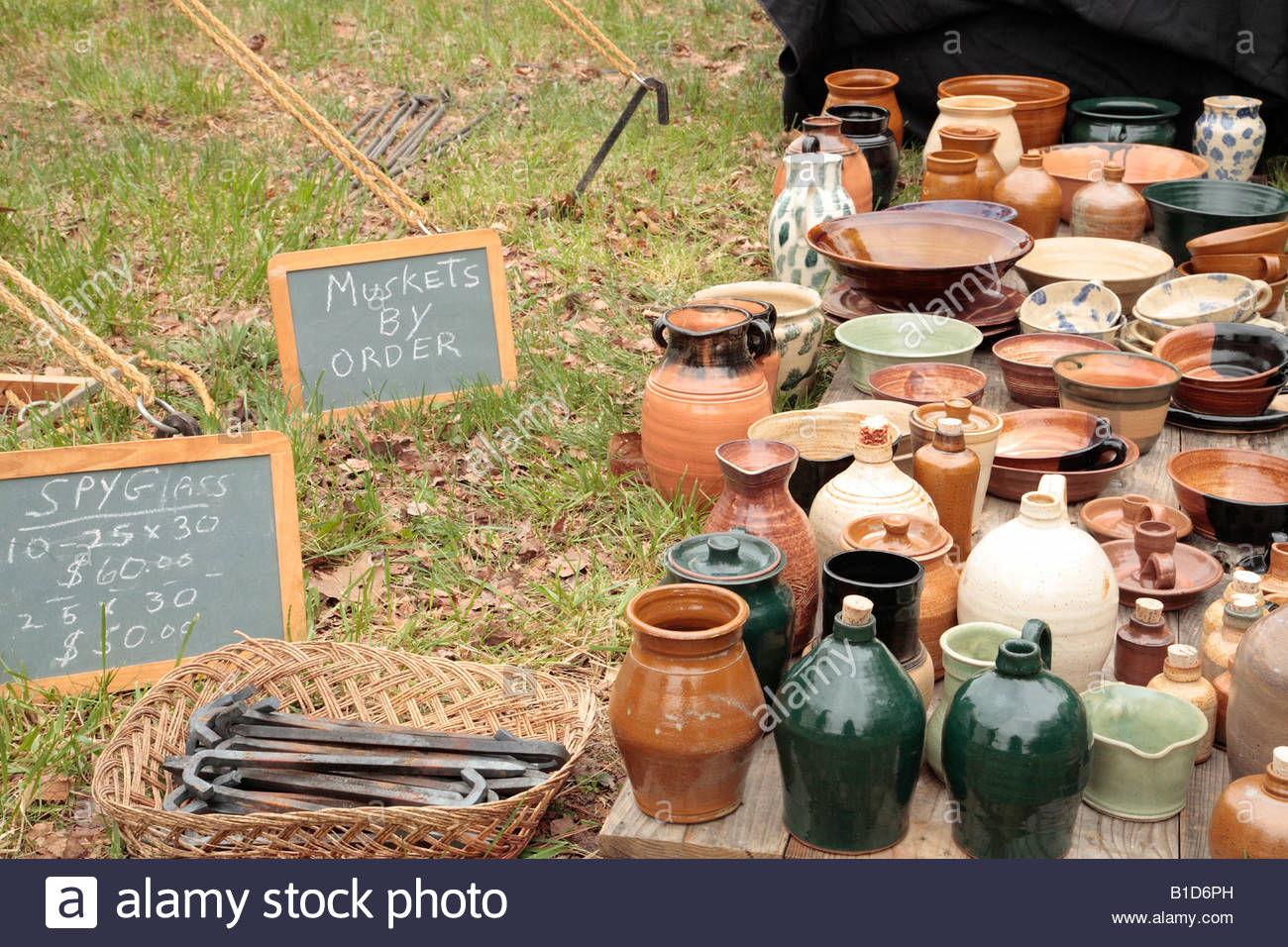 Ceramic and other wares at a sutler's booth at the Market Fair at an