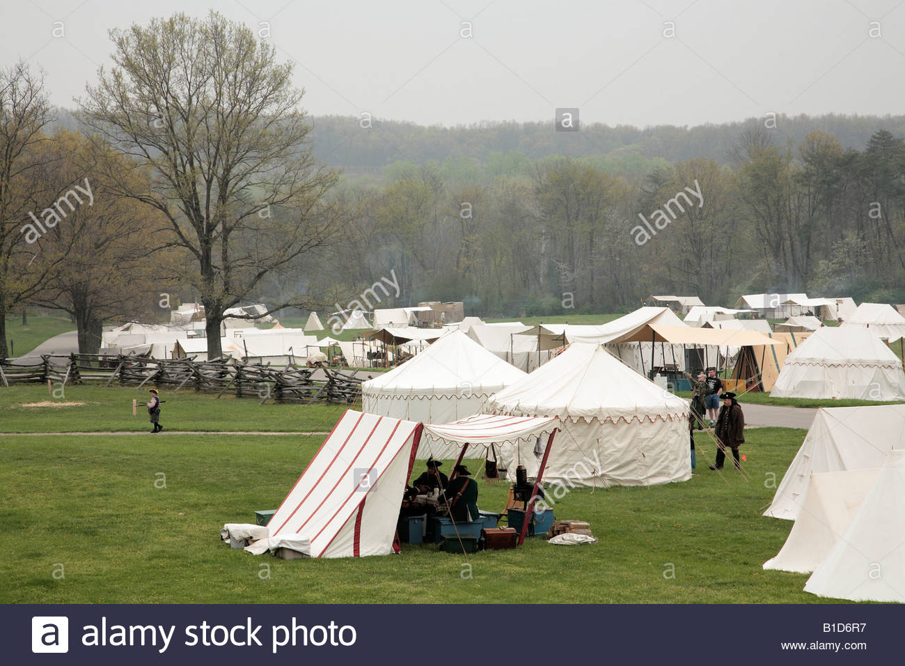 Sutlers' camp at the Market Fair at an eighteenth-century fort in