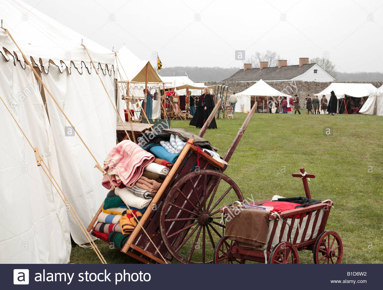 Sutlers' booths at the Market Fair at an eighteenth-century fort in