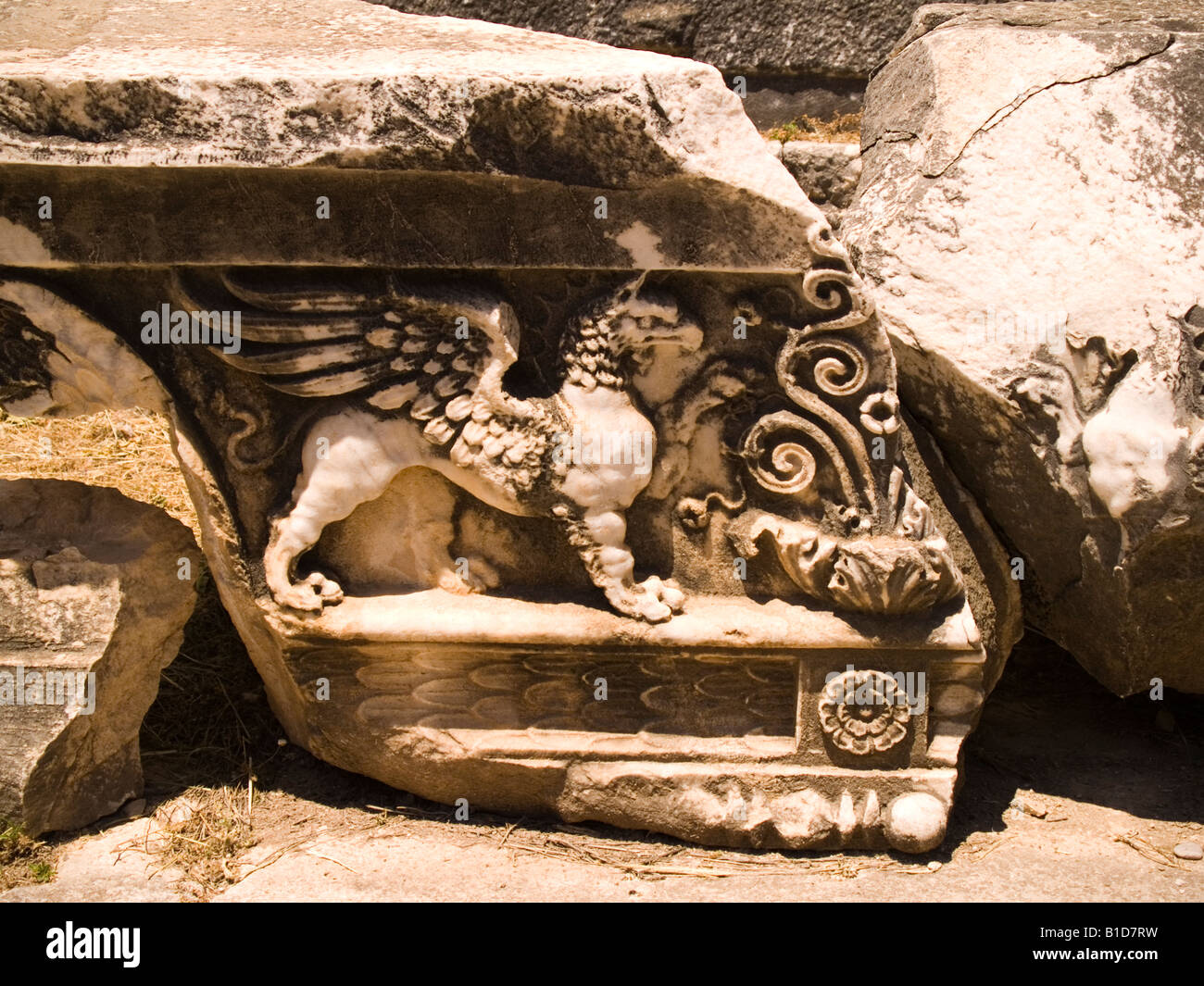 Frieze, relief from the Temple of Apollo, Didim, Turkey - Stock Image