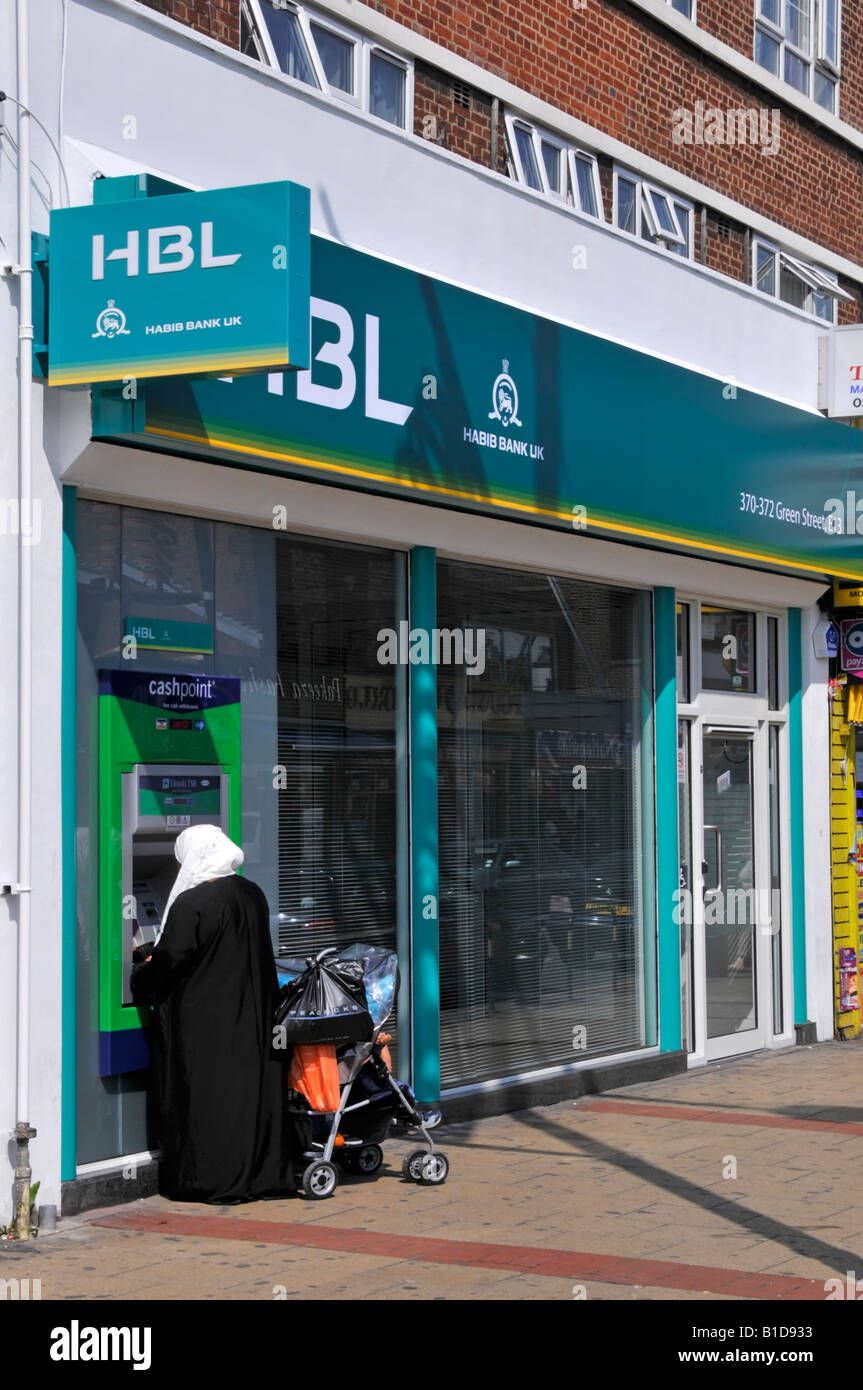 Upton Park Green Street shopping area close up of HBL bank with Lloyds TSB cash point machine ATM - Stock Image