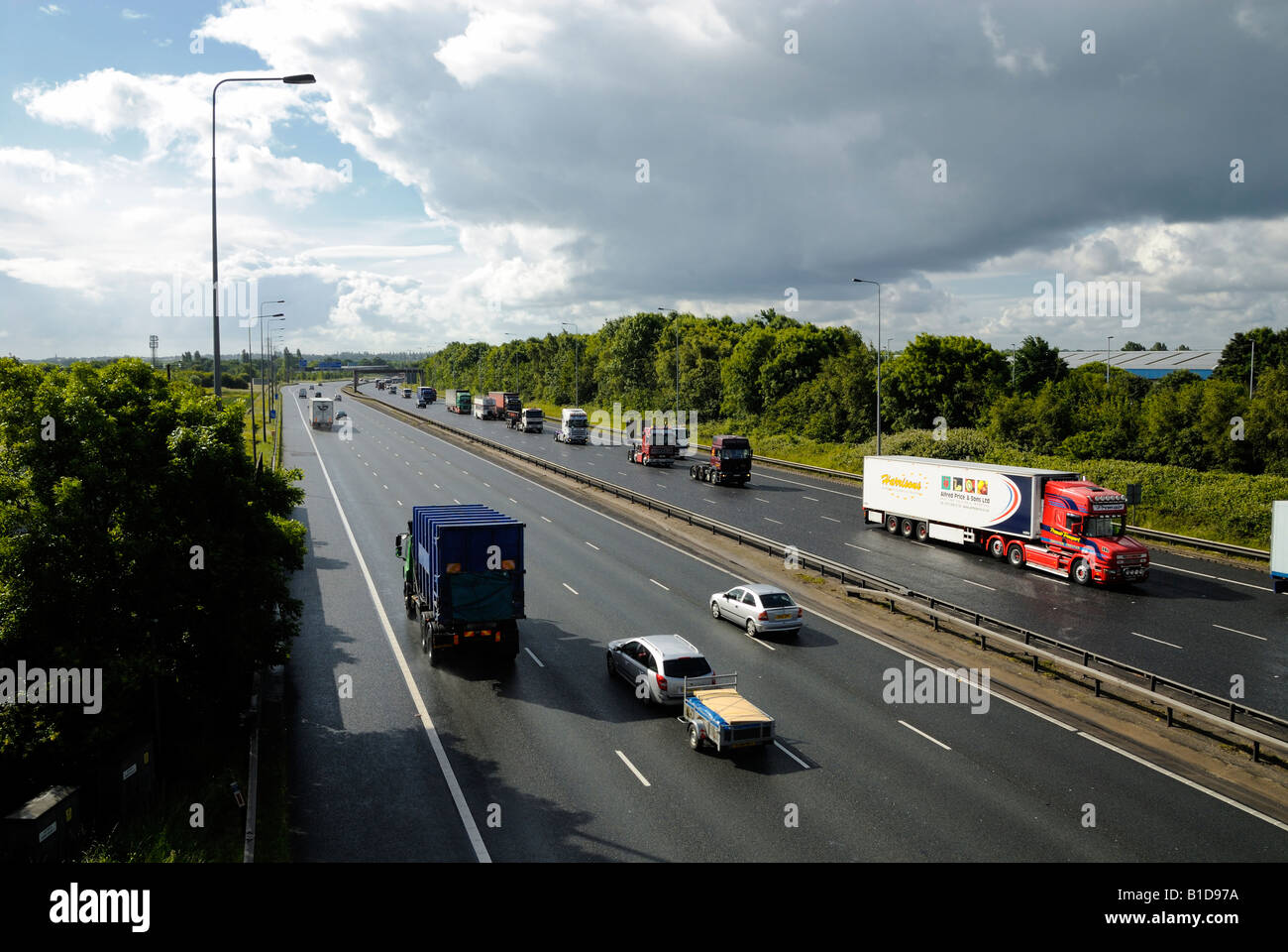 The start of the fuel protest in the northwest along the M6 motorway  on the 14-06-2008 Stock Photo
