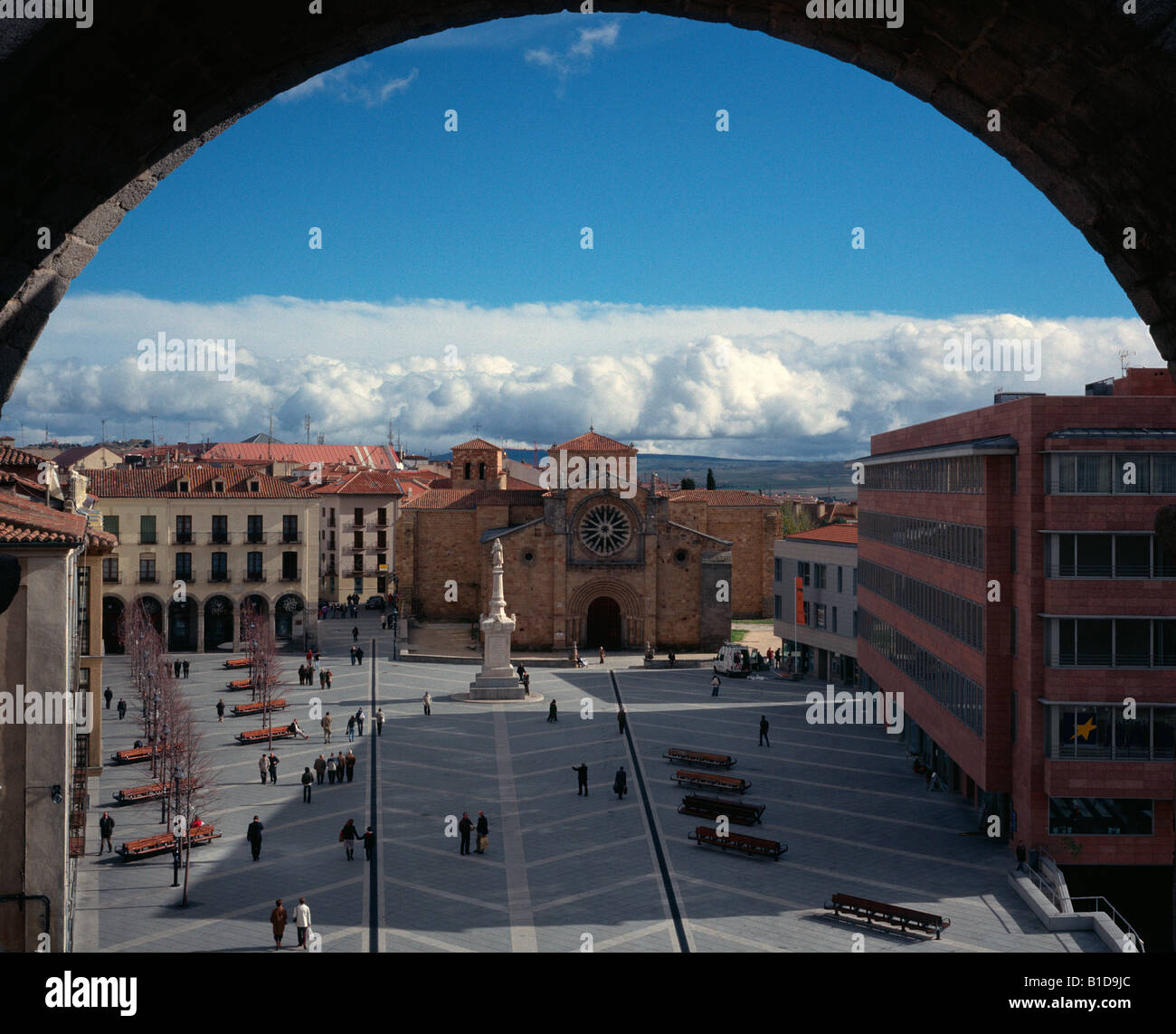 The main square, El Chico in Avila seen from the city walls, Spain - Stock Image