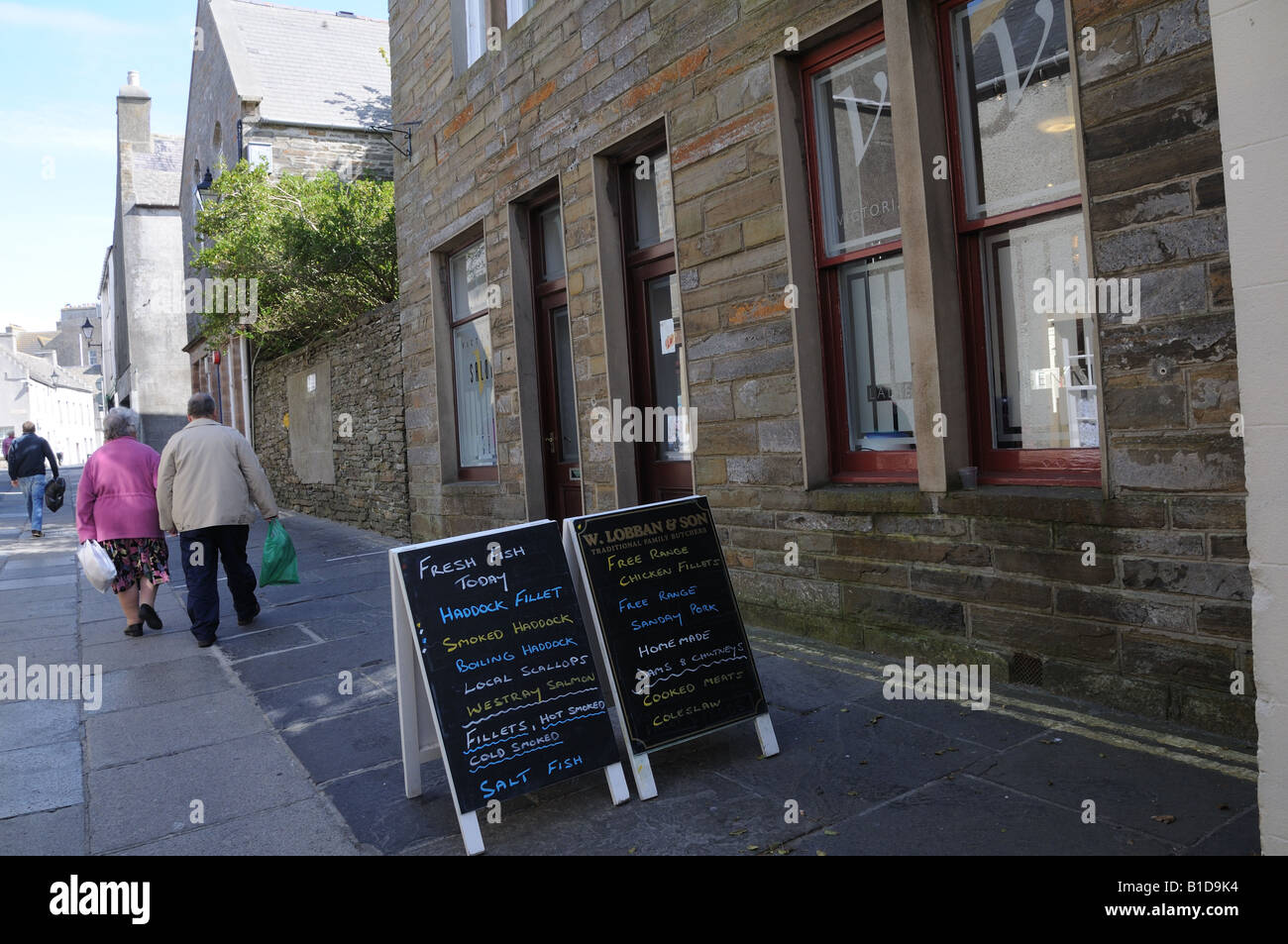 Victoria Street in Kirkwall, the capital of the Orkney Islands. - Stock Image