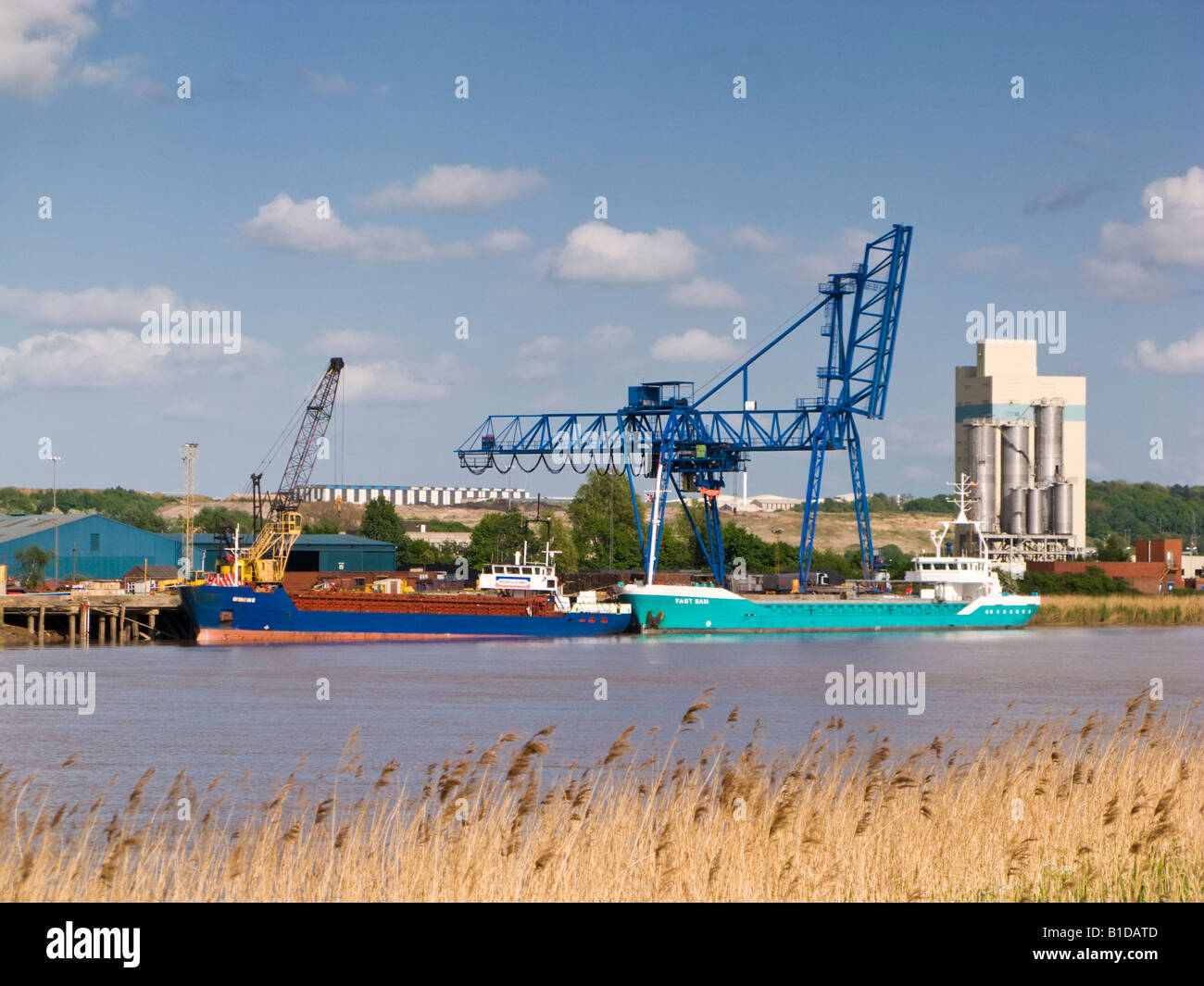 Flixborough Wharf Steel Terminal on the River Trent at Flixborough, North Lincolnshire, UK Stock Photo