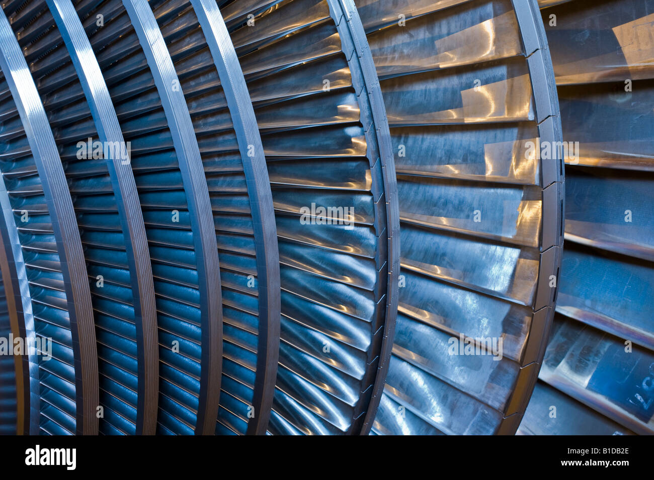 Detail of the blades on a Siemens steam turbine - Stock Image
