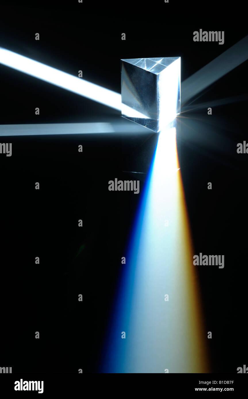 Prism and light beam spectrum - Stock Image