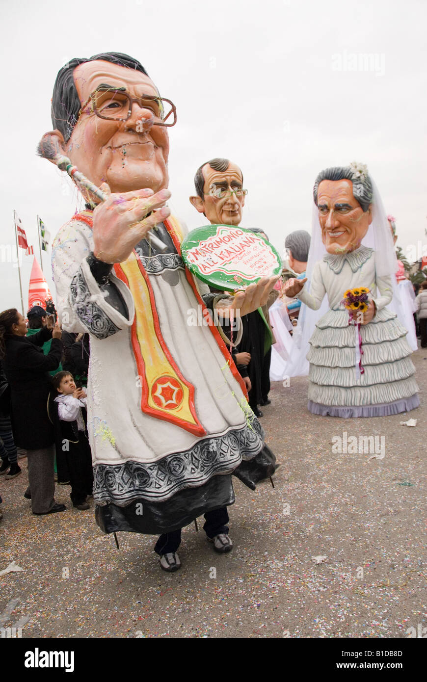 Giant heads political caricatures at Viareggio Carnivale, Tuscany, Italy - Stock Image