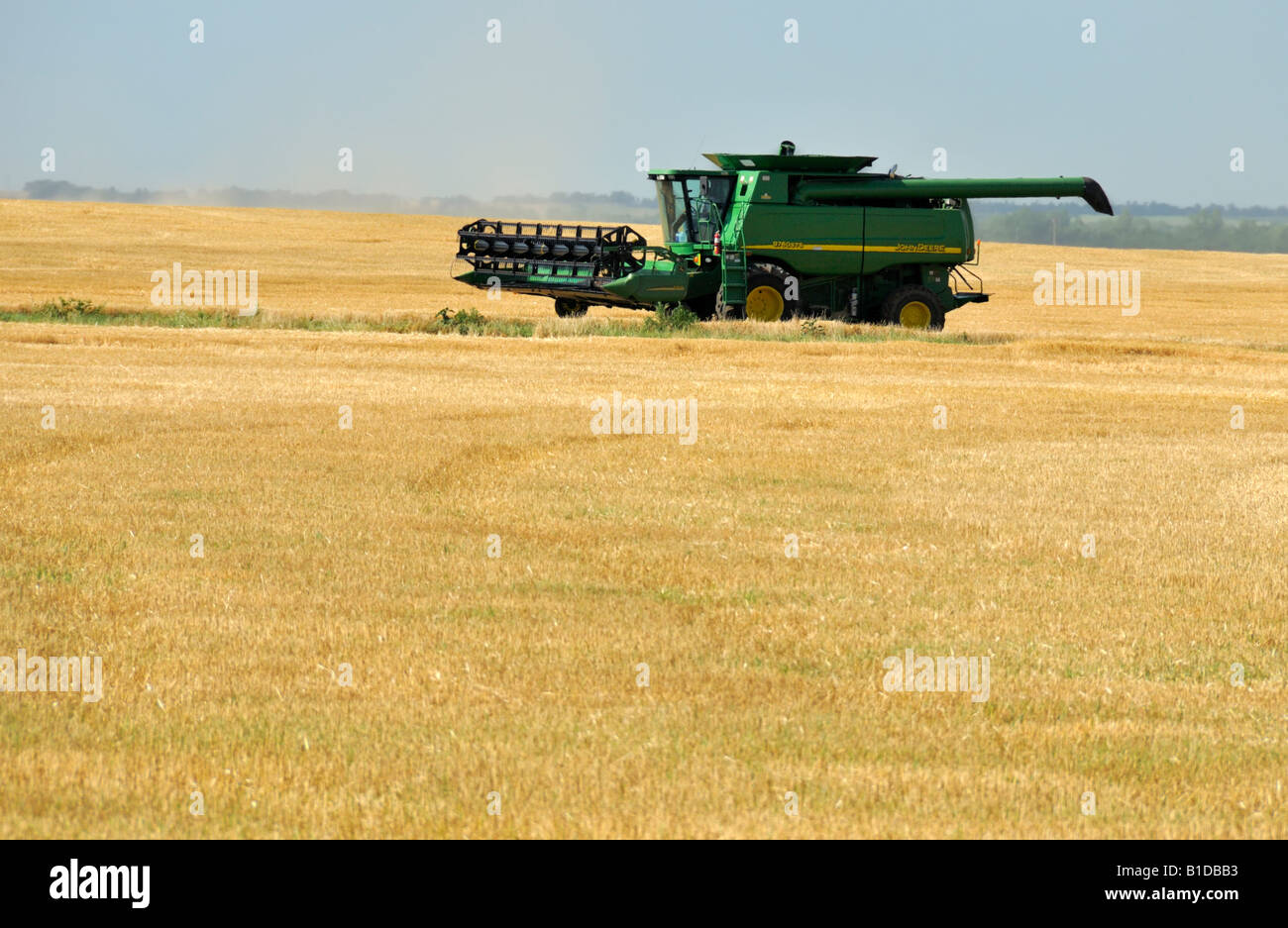 A combine brings its load of grain for dumping in central Oklahoma, USA, North America. - Stock Image