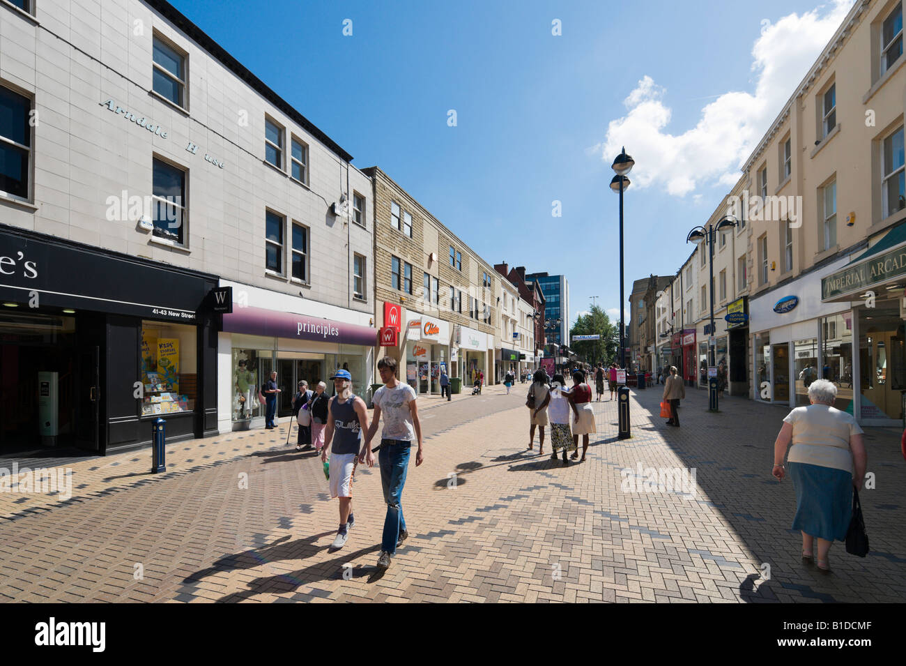 Pedestrian shopping area on New Street, Huddersfield, West Yorkshire, England, United Kingdom - Stock Image