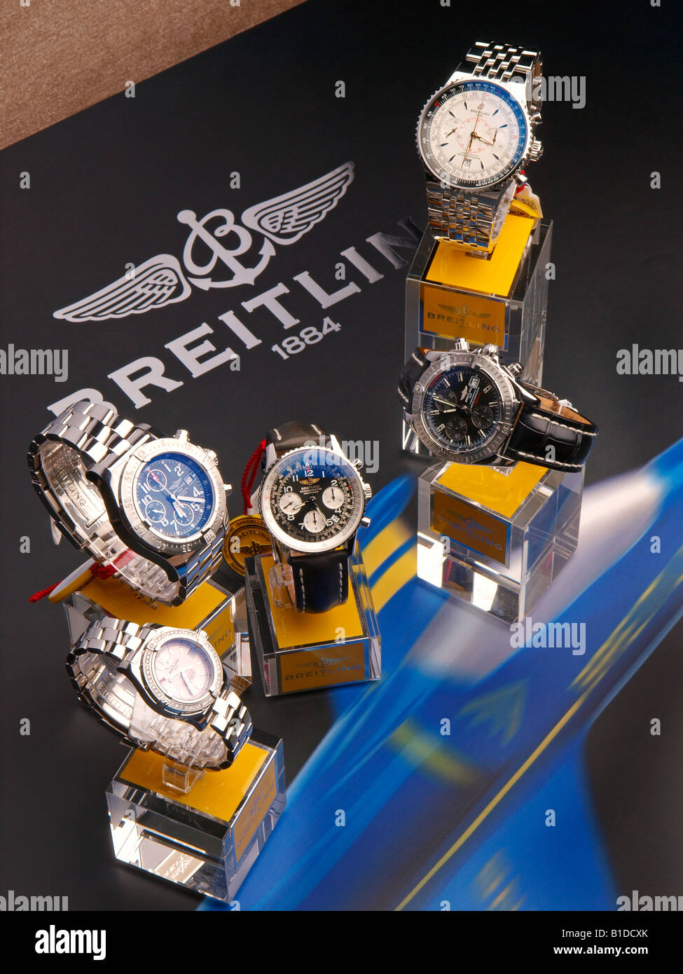 Collection of Breitling mens watches and chronographs with logo - Stock Image