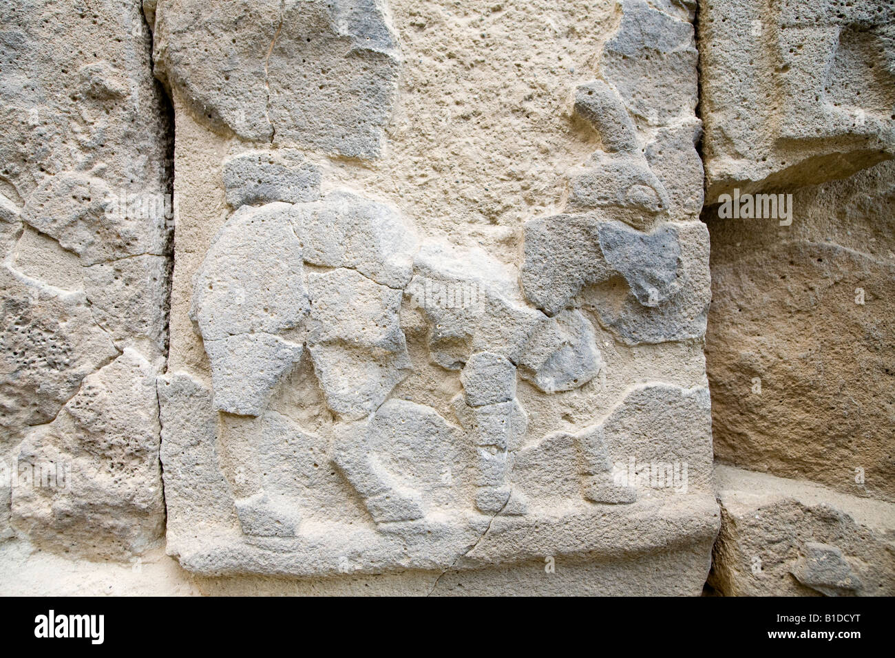 Damaged relief at the Late Hittite fortress of ancient Karatepe, Aslantas in the province of Adana, South Eastern Stock Photo