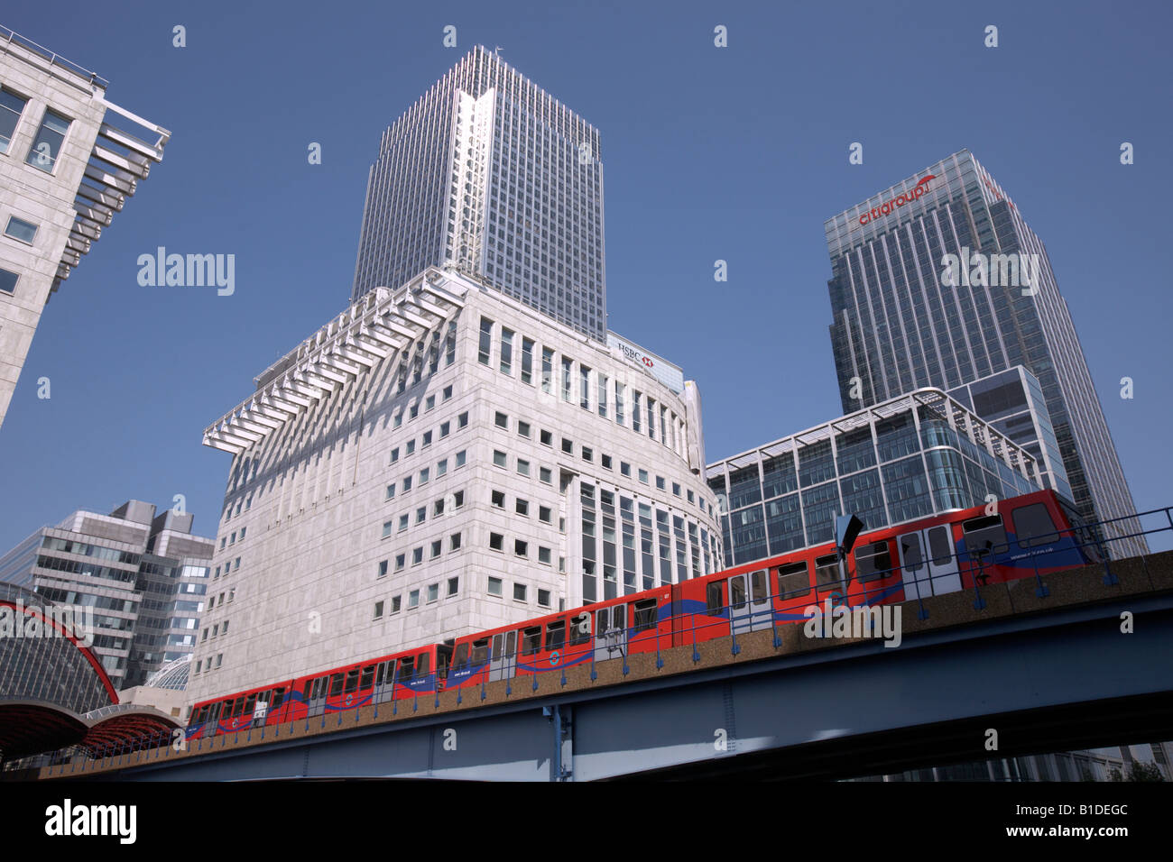 Canary Wharf and the Docklands Light Railway, London, England - Stock Image