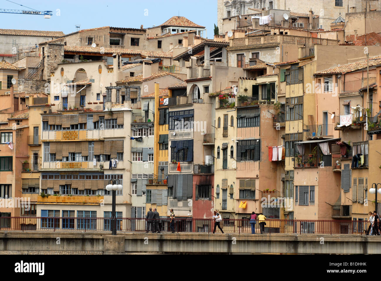 City apartments overlooking the River Onyar in Girona Spain Europe Stock Photo