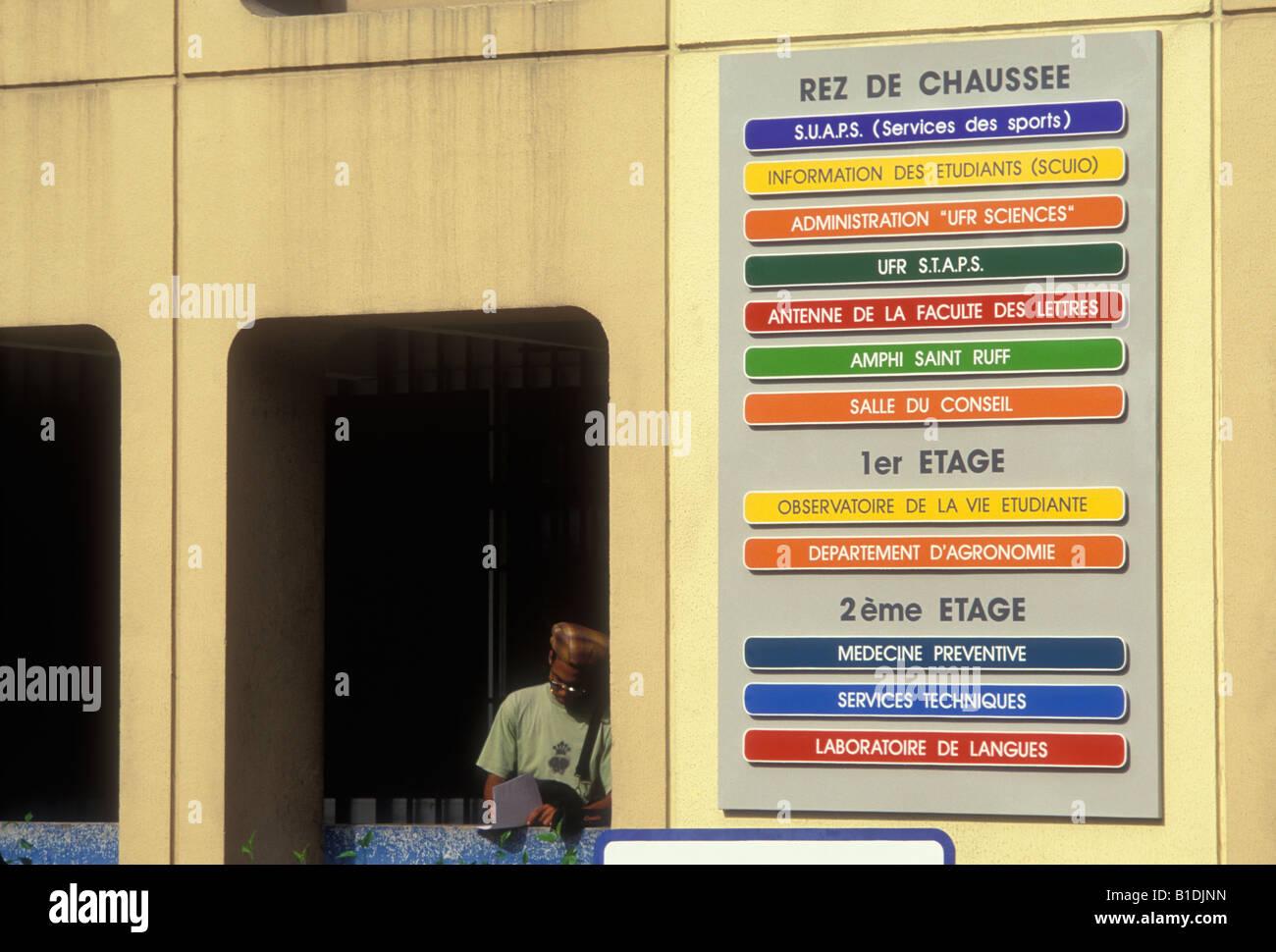 student, Universite de Fouillole, Fouillole University, Pointe-a-Pitre, Grande-Terre, Grande-Terre Island, Guadeloupe, - Stock Image