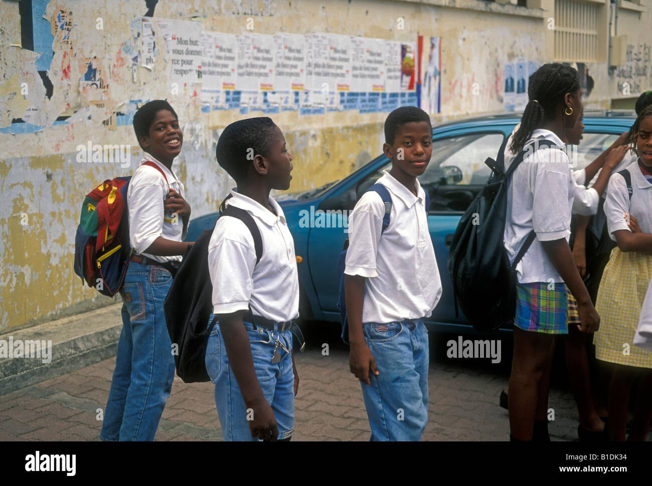 students, schoolboy, schoolboys, classmates, schoolmates, College Courbaril, school, Pointe-Noire, Basse-Terre, - Stock Image
