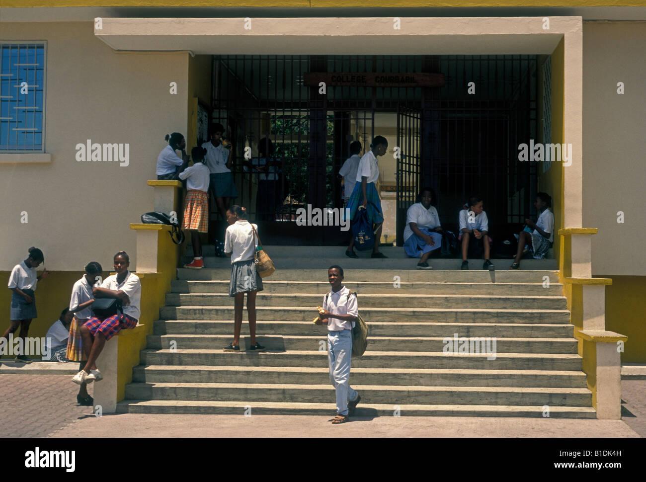 students, schoolgirl, schoolgirls, schoolboy, classmates, College Courbaril, school, Pointe-Noire, Basse-Terre, - Stock Image