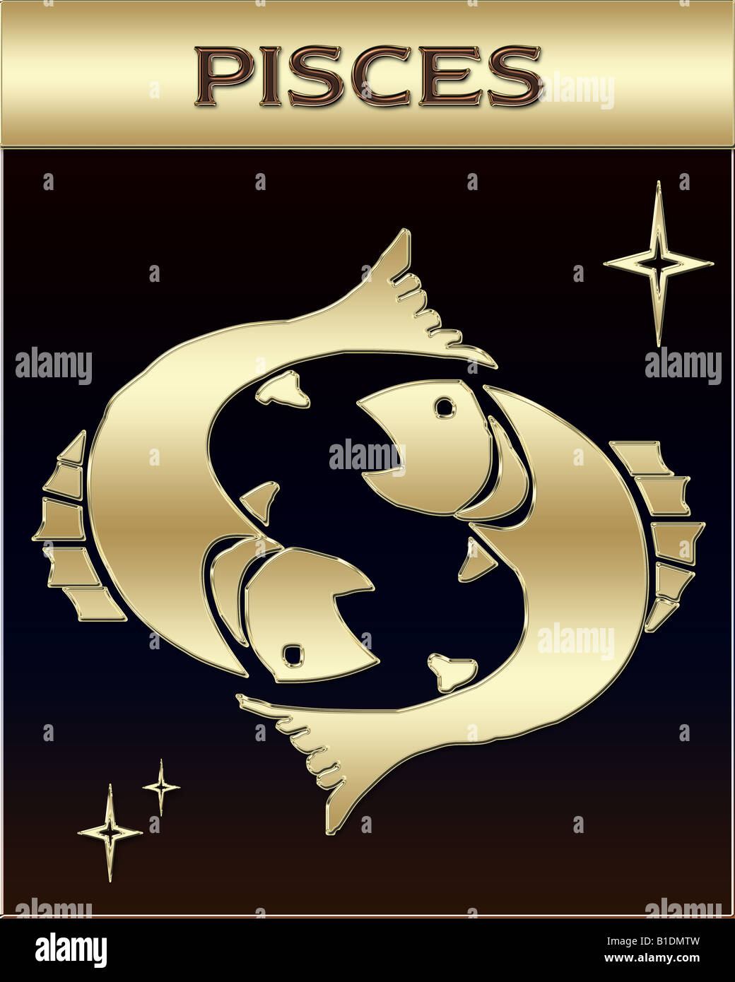 Golden Zodiac sign illustration with name - Stock Image