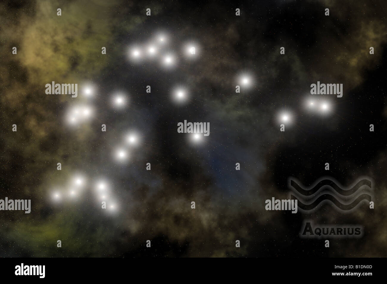 Zodiac - Aquarius constellation, with sign and name of Zodiac. Against space galaxy background - Stock Image