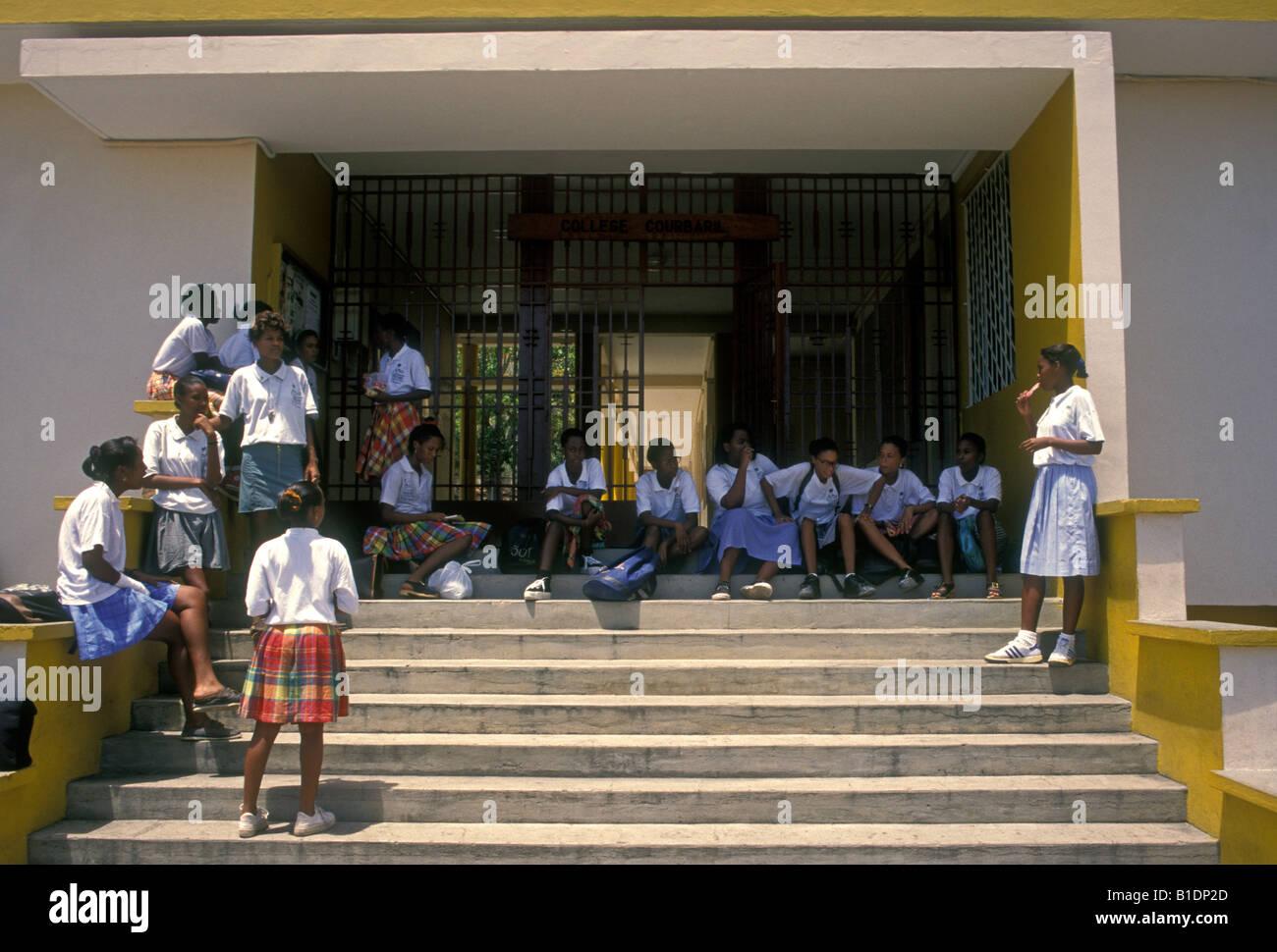 students, schoolgirl, schoolgirls, classmates, schoolmates, College Courbaril, school, Pointe-Noire, Basse-Terre, - Stock Image