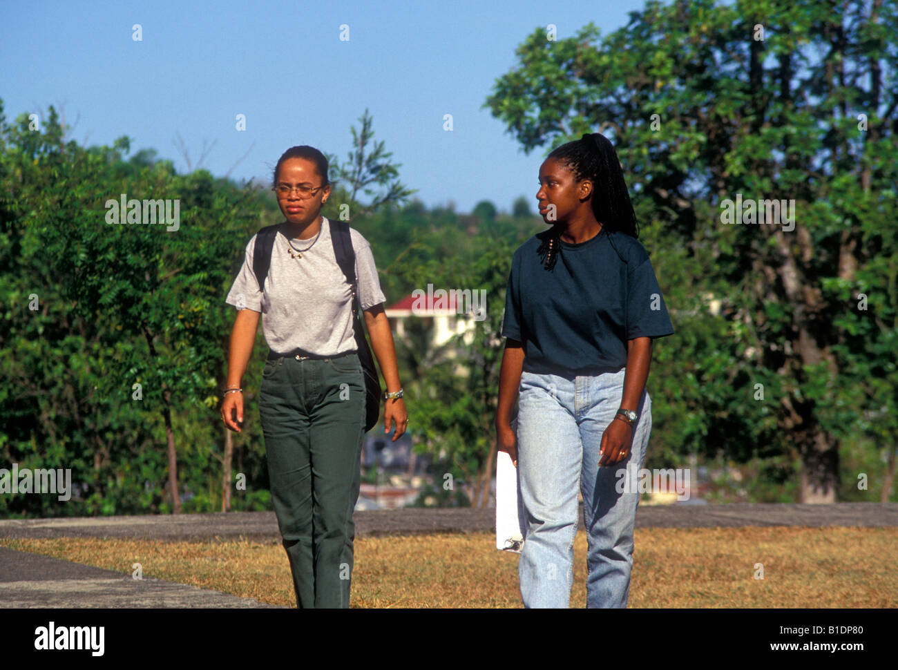 2, two, young women, students, Universite de Fouillole, Fouillole University, city of Pointe-a-Pitre, Pointe-a-Pitre, - Stock Image