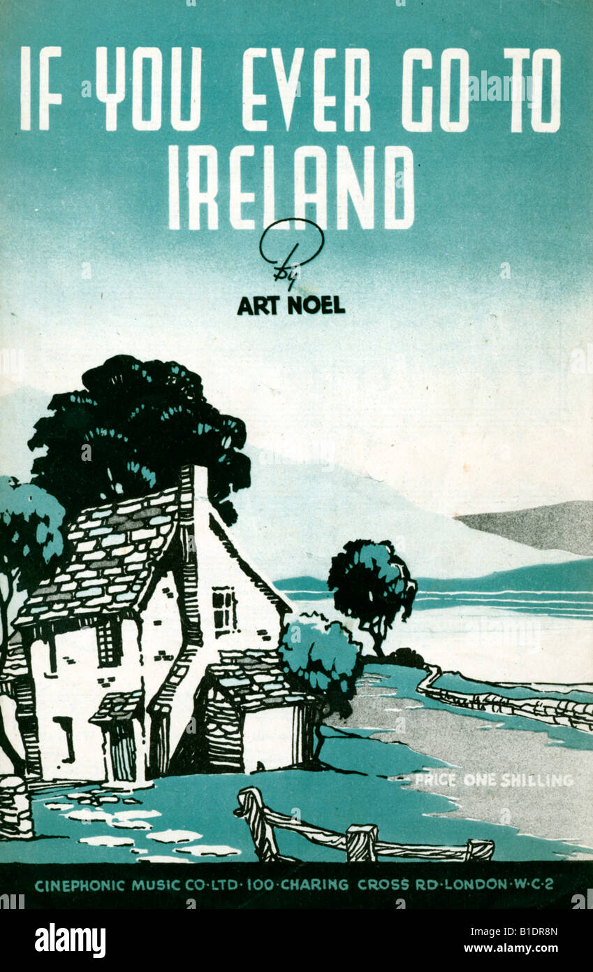 If You Ever Go to Ireland 1950s music sheet cover for a song by Art Noel - Stock Image