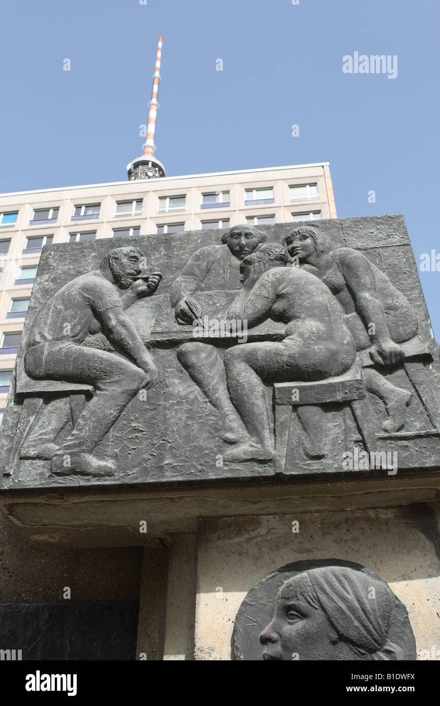 Berlin Germany former East German social realism monument adjacent to Alexanderplatz - Stock Image